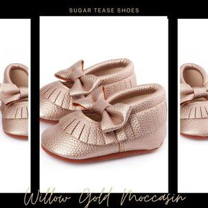 Willow Rose Gold Baby Moccasin Shoes - Sugar Tease